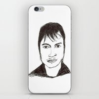 actor iPhone & iPod Skins featuring Biro drawing of the actor Gael Garcia Bernal by Aliyahgator