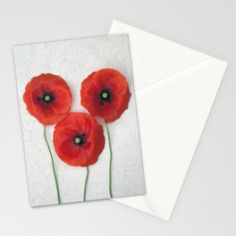 Three red Poppies III Stationery Cards