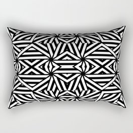 Black and white lines pattern, asymetric design, geometric theme, simple stripes lines, caleidoscope Rectangular Pillow