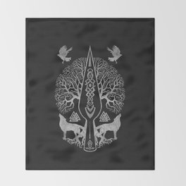 Gungnir - Spear of Odin and Tree of life  -Yggdrasil Throw Blanket
