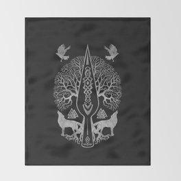Gungnir - Spear of Odin and Tree of life  -Yggdrasil Throw Blanket