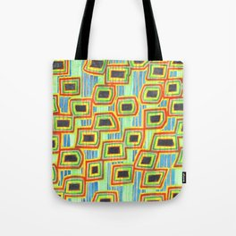 Connected Rectangle Shapes with Vertical Stripes Pattern Tote Bag