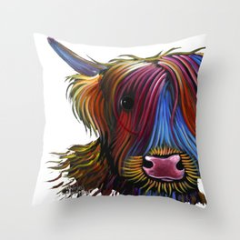 Scottish Highland Cow ' PoDGER ' by Shirley MacArthur Throw Pillow