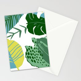 Mid-Century Modern Teal, Mustard & Mint-Colored Leaves Stationery Cards