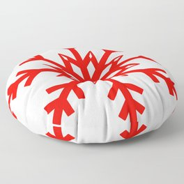 Red Snowflake, Christmas and Holiday Fantasy Collection Floor Pillow