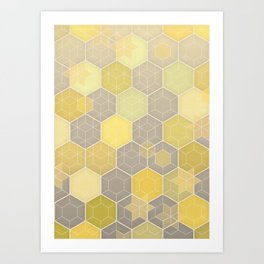 Lemon & Grey Honeycomb Art Print