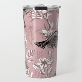 Flowers and Flight in Monochrome Rose Pink Travel Mug