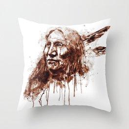 Native American Portrait Sepia Tones Throw Pillow