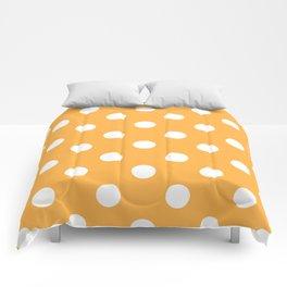 Polka Dots - White on Pastel Orange Comforters