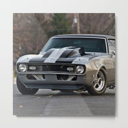 Silver Muscle car  Metal Print