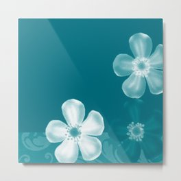 Retro 70s Flowers Turquoise Metal Print