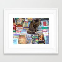 literary Framed Art Prints featuring A Literary Puss by thejennii