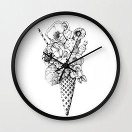 BLACK AND WHITE FLOWER ICE CREAM Wall Clock
