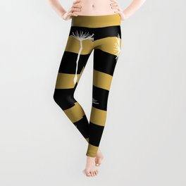 flying dandelion seeds simple seamless pattern on Gold Yellow stripes Background Leggings
