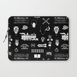 Railroad Symbols on Black Laptop Sleeve
