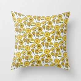 Calendula Florals Throw Pillow