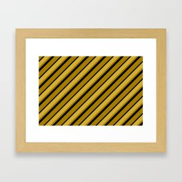 Black and Shades of Gold Stripes Framed Art Print