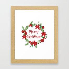 Lovely Merry Christmas Wreath Framed Art Print