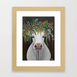 Winter Cow Elsa Framed Art Print