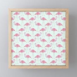 Flamingo - mint green background Framed Mini Art Print