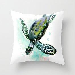 Sea Turtle, underwater scene, navy blue green turquoise Throw Pillow