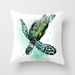 Sea Turtle, underwater scene,  green turquoise beach house design Throw Pillow