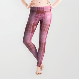 Valentine Hearts Plaid Leggings