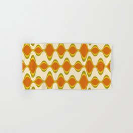 Retro Psychedelic Wavy Pattern in Orange, Yellow, Olive Hand & Bath Towel