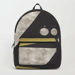 Silver Moon Phases Abstract Geometric Art Backpack