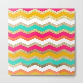 retro boho orange gold burlap pink turquoise geometric chevron pattern Metal Print