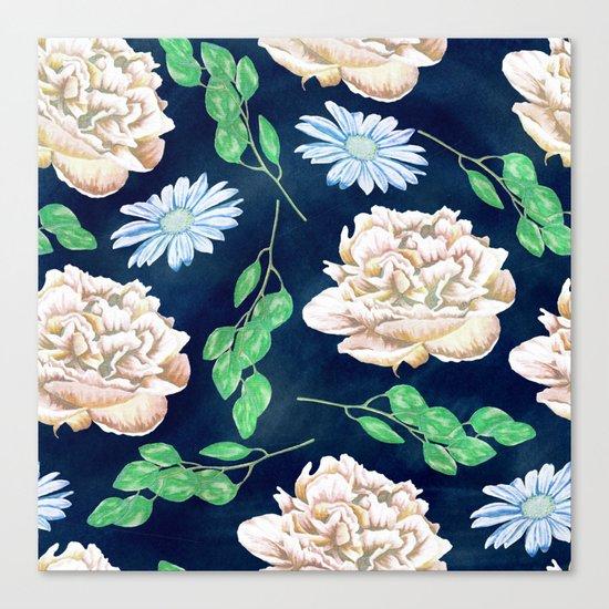 Rose Garden Navy Blue Antique Floral Pattern Canvas Print