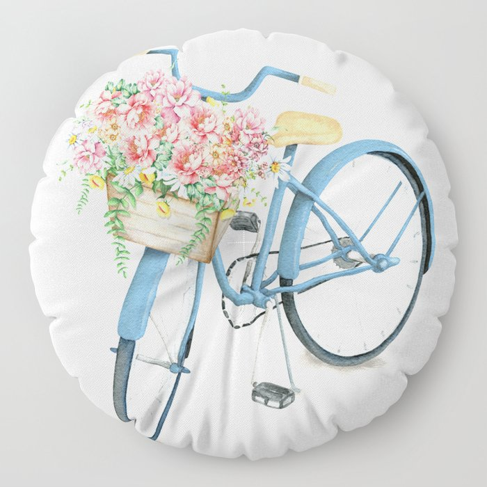 Blue Bicycle with Flowers in Basket Floor Pillow