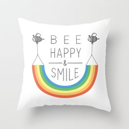 Bee Happy and Smile Throw Pillow