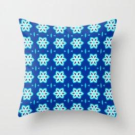 CVF0073 Cyan Blue White flower pattern Throw Pillow