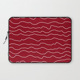Red with White Squiggly Lines Laptop Sleeve