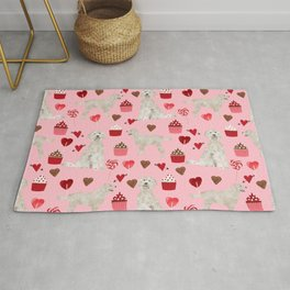 Golden Doodle dog breed valentines day art pattern dog gifts for dog lovers hearts and cupcakes Rug