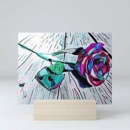 Beautiful Rose Drawing Against Wood Floor Mini Art Print