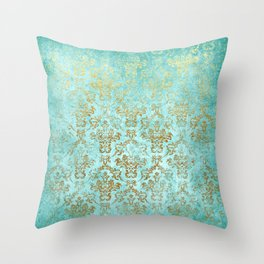 Mermaid Gold Aqua Seafoam Damask Throw Pillow