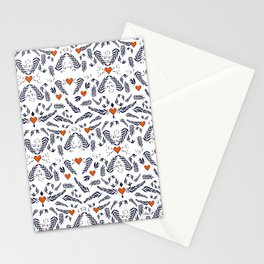 Red hearts and blue leaves pattern Stationery Cards