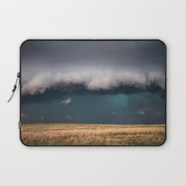 Small - Large Storm Towering Over Windmill in Texas Laptop Sleeve