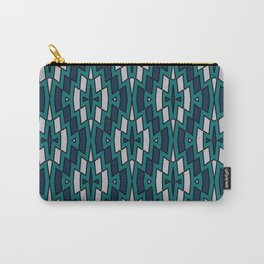 Tribal Diamond Pattern in Navy, Teal and Gray Carry-All Pouch