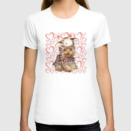 Dog Giraffe Costume | Yorkie with Hearts | Nadia Bonello T-shirt