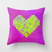 valentines Throw Pillows featuring Neon Valentines by Fimbis