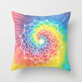 RAINBOW TIE DYE MANDALA Throw Pillow