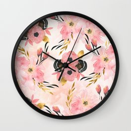 Night Meadow Blush Pink Wall Clock