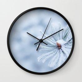 Hoarfrost on needles Wall Clock