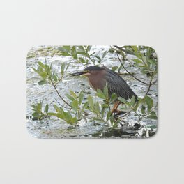 Green Heron at Lakeside Bath Mat