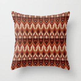 Brown and beige ethnic pattern . Throw Pillow