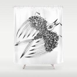 """ Spring"" (b&w) Shower Curtain"