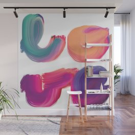 l-o-v-e brightly coloured painted lettering Wall Mural